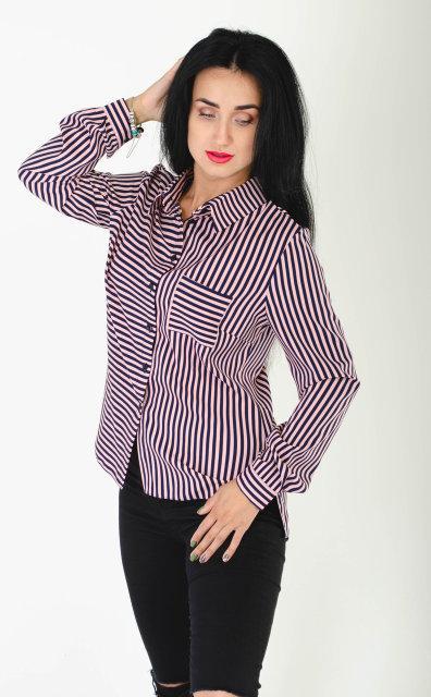 Женская классическая рубашка из однотонного софта в полоску