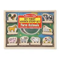 """Мои первые штампы """"Животные фермы"""" (My First Wooden Stamp Set - Farm Animals, 8 шт.) ТМ Melissa & Doug MD12390"""