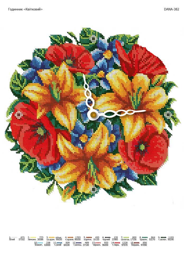 Схема для вышивки заготовки часов Цветочные