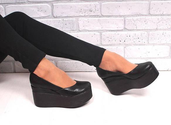 Черные демисезонные кожаные туфли на высокой платформе 36-40 р, фото 2