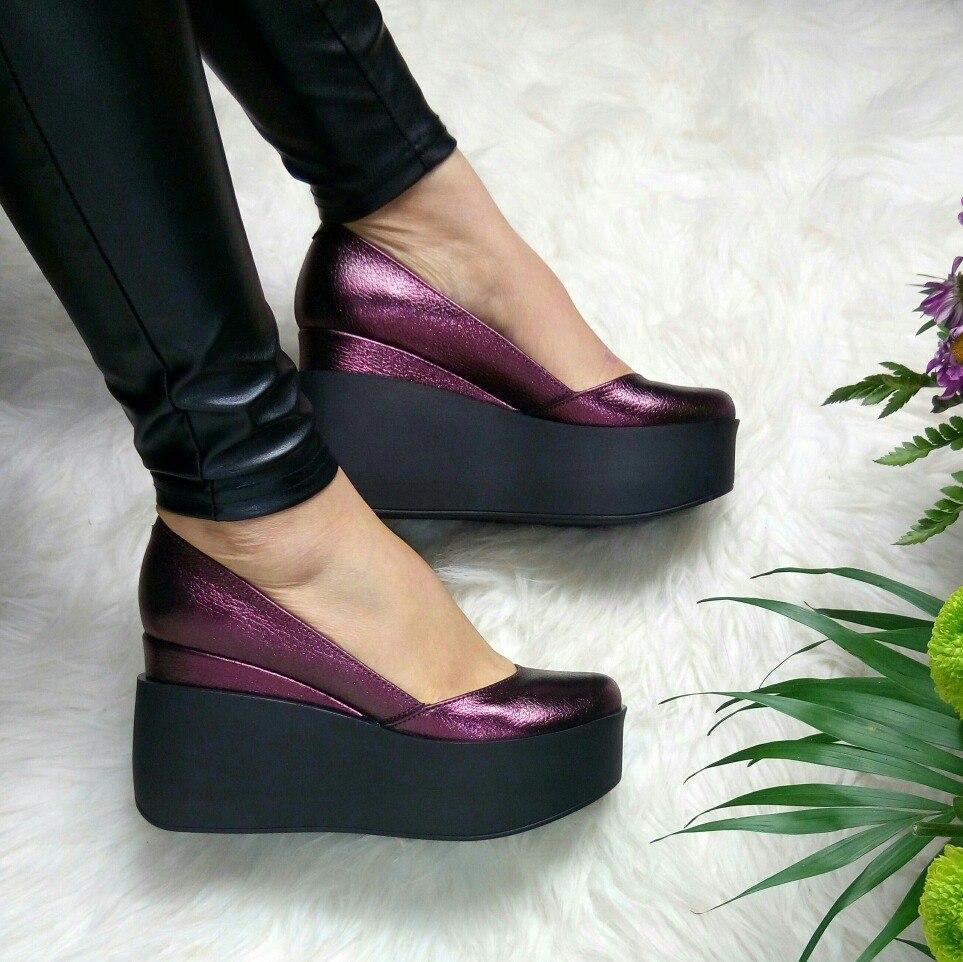 Модные кожаные туфли на платформе 36-40 р