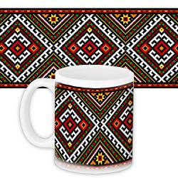 Кружка с принтом Український орнамент 330 мл (KR_UKR045)