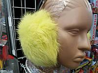 Меховые наушники (ушки) из натурального меха кролика Цвет лимонный