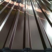 Профнастил для забора двухсторонний коричневый глянец С 20 толщиной 0,45 мм