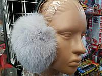 Меховые наушники (уши) из натурального меха кролика Цвет Серый