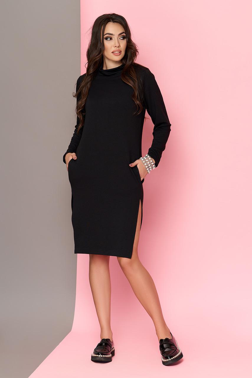 Трикотажное платье черное в спортивном стиле 44-54р