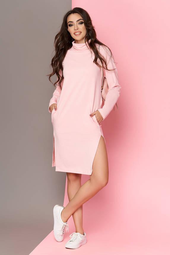 a5229057aa076fd Розовое трикотажное платье в спортивном стиле 44-54р | ALLSTUFF