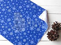 """Фетр мягкий с принтом """"Зима: снежинки белые большие"""" на синем"""