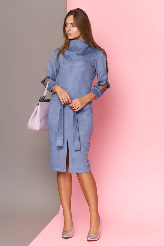 Замшевое платье миди голубое, фото 2