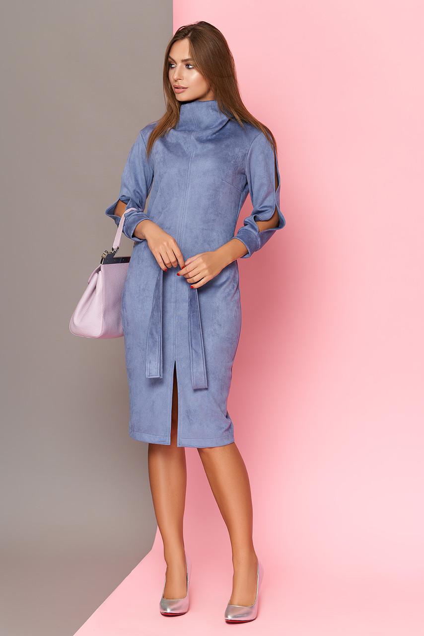 Замшевое платье миди голубое