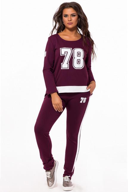Батальный спортивный костюм с номером  цвет марсала 824184