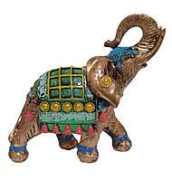 Садовая фигурка Слон индийский бронза + зелёный 25 см