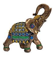 Садовая фигурка Слон индийский бронза + желтый 25 см