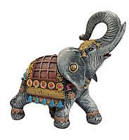 Садовая фигурка Слон индийский серый + желтое 25 см