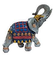 Садовая фигурка Слон индийский серый + синий 25 см