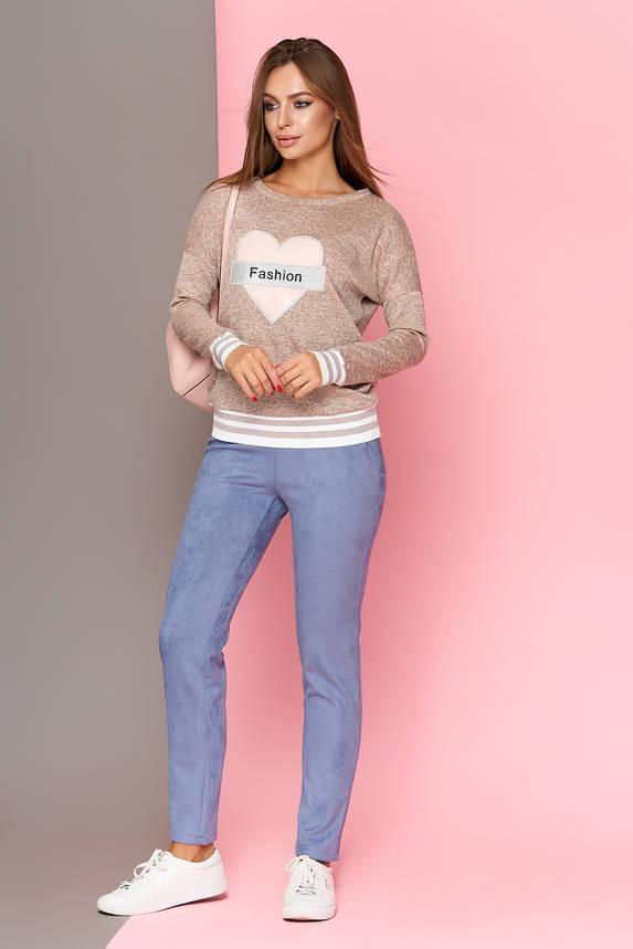 Зауженные замшевые брюки-леггинсы голубые, фото 2