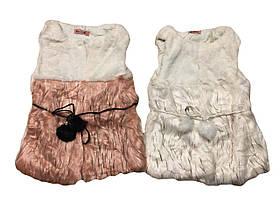 Безрукавки для девочек меховые оптом, размеры 4-14 лет , Lemon tree, арт.7933