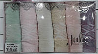 Набор махровых кухонных полотенец с вышивкой в подарочной коробке 6 шт. 30х50 Julie