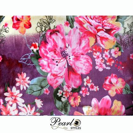 Плед теплый махровый в цветах, фото 2
