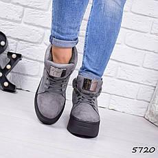 """Ботинки, ботильоны серые ЗИМА """"Gretchen"""" эко замша, повседневная, зимняя, теплая, женская обувь, фото 2"""