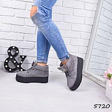 """Ботинки, ботильоны серые ЗИМА """"Gretchen"""" эко замша, повседневная, зимняя, теплая, женская обувь, фото 3"""