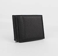 Купюрник-зажим для денег немагнитный кожаный Canpellini 070-7 черный, отделы для карт