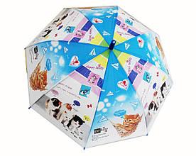 Детский зонтик Котики голубой