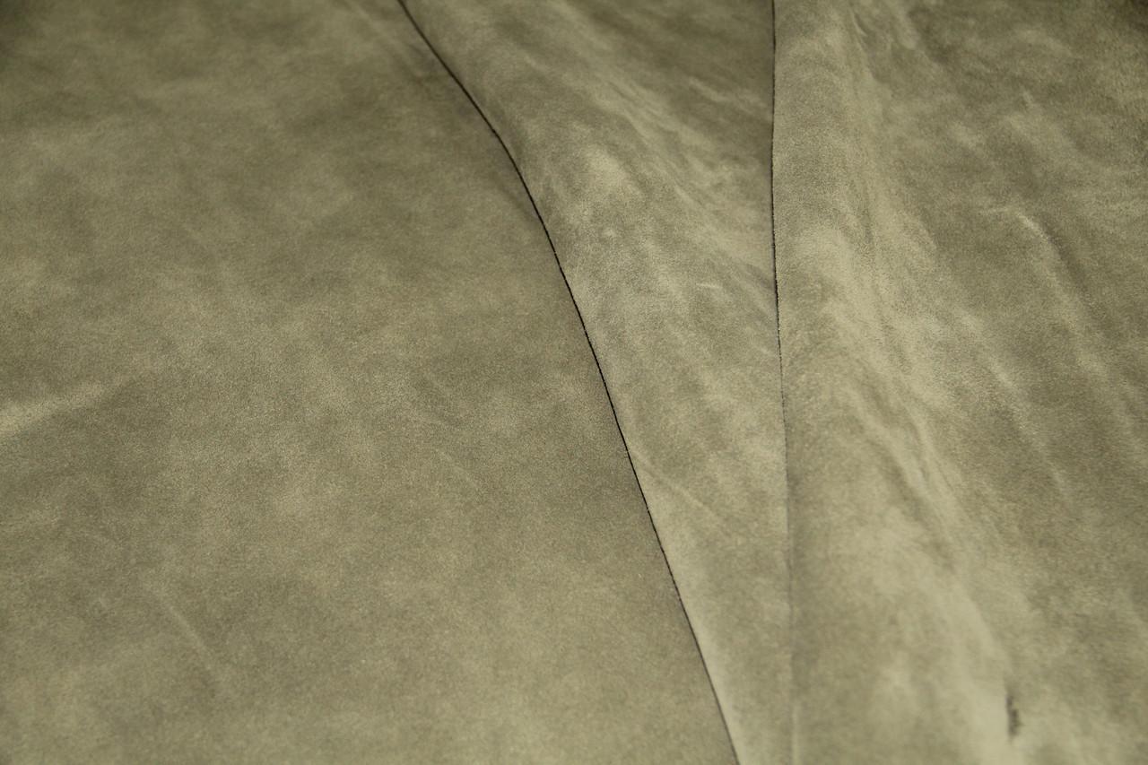 Натуральная кожа КРС велюр зеленый-хаки