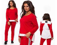 Батальный спортивный костюм женский лампасы красный 824198