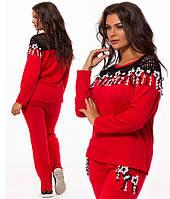 Красивый спортивный костюм с кружевом для полных красный 824195