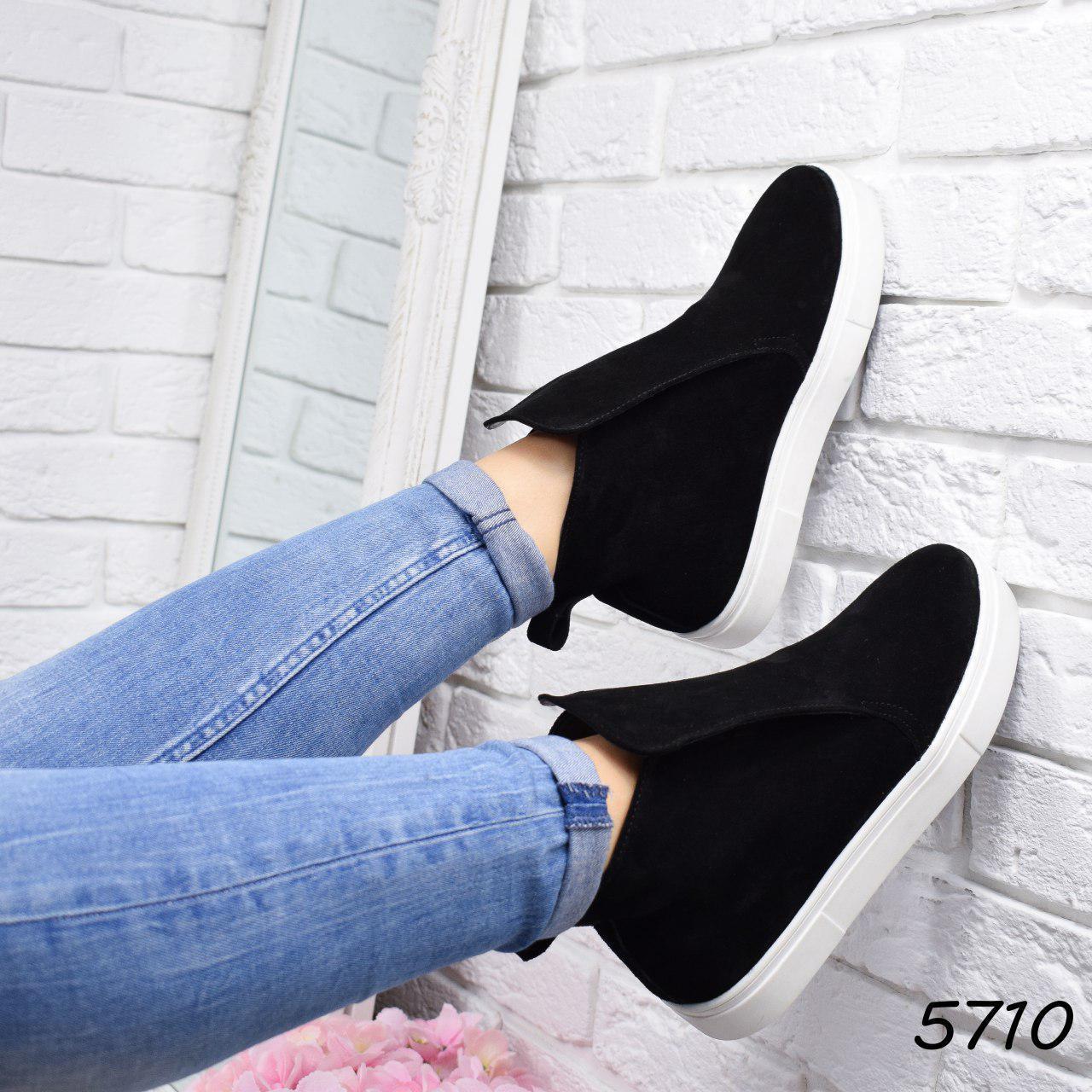 """Ботинки, ботильоны черные """"Jill"""" НАТУРАЛЬНАЯ ЗАМША, повседневная, демисезонная, осенняя, женская обувь"""