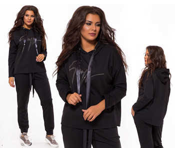 Спортивный костюм большого размера с камушками черный 824163