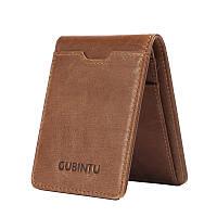 Тонкий кожаный мини портмоне Gubintu коричневый
