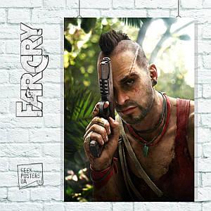 Постер Far Cry 3 (Ваас Монтенегро с пистолетом). Размер 60x42см (A2). Глянцевая бумага