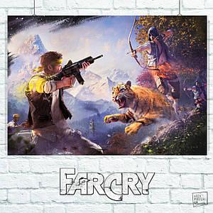 Постер Far Cry (автоматчик, тигр и лучник). Размер 60x42см (A2). Глянцевая бумага