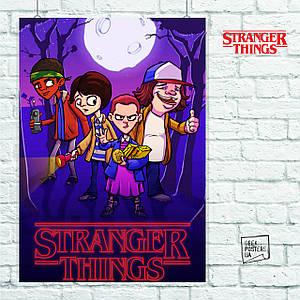 Постер Stranger Things (мультяшный). Размер 60x42см (A2). Глянцевая бумага