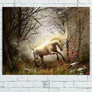 Постер Единорог. Размер 60x47см (A2). Глянцевая бумага