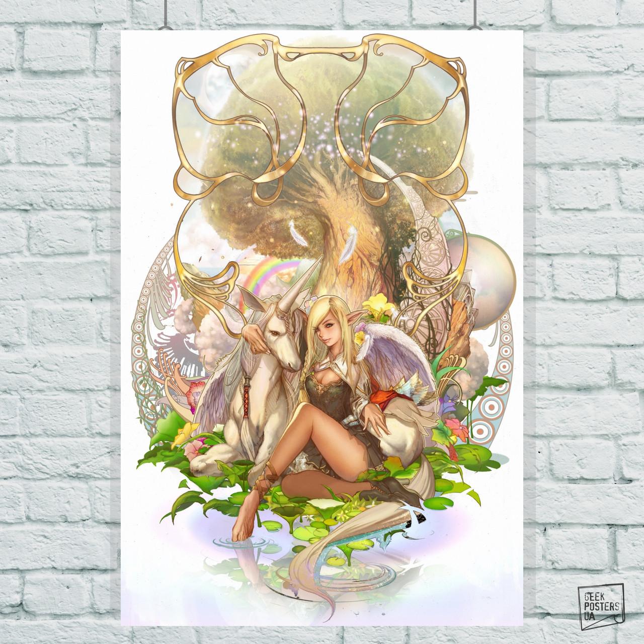 Постер Единорог и эльфийка. Размер 60x42см (A2). Глянцевая бумага