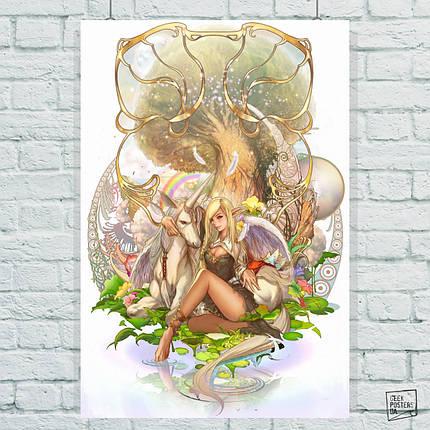 Постер Единорог и эльфийка. Размер 60x42см (A2). Глянцевая бумага, фото 2