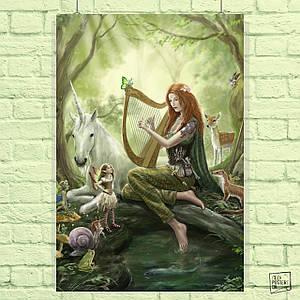 Постер Единорог и эльфийка с арфой. Размер 60x41см (A2). Глянцевая бумага