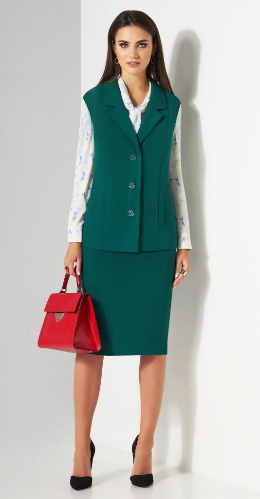 Костюм Lissana-3181/1 белорусский трикотаж, бирюзово-зеленые тона+серая блузка, 54