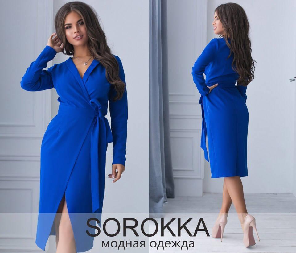Классическое платье на запах с длинным рукавом / 5 цветов арт 6927-592