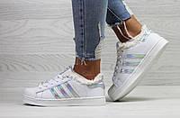 Кроссовки женские зимние Adidas Superstar белые с серебром