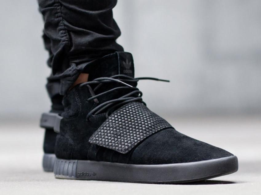 Кроссовки мужские Adidas Tubular Invader Strap triple black, адидас тубулар черные