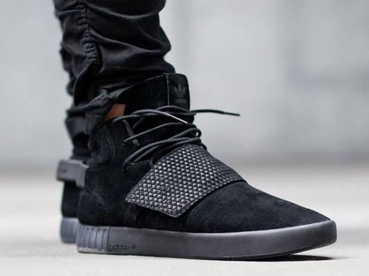 Кроссовки мужские Adidas Tubular Invader Strap triple black, адидас тубулар черные, реплика