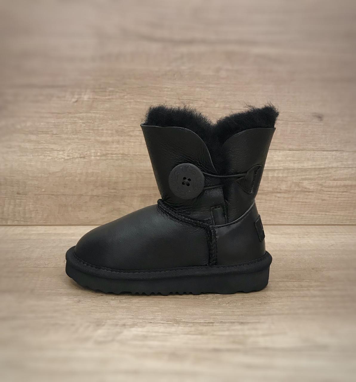 UGG Kids Bailey Button Black Leather Детские угги с пуговицей черные кожаные