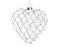 Елочное украшение Сердце 9.5см, прозрачное стекло с декором из белого бисера, стекло, в упак. - 4шт. (172-104)