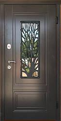 """Вхідні двері для вулиці """"Портала"""" (ЛЮКС RAL зі склопакетом + Vinorit) ― модель S-3 (Дерево)"""