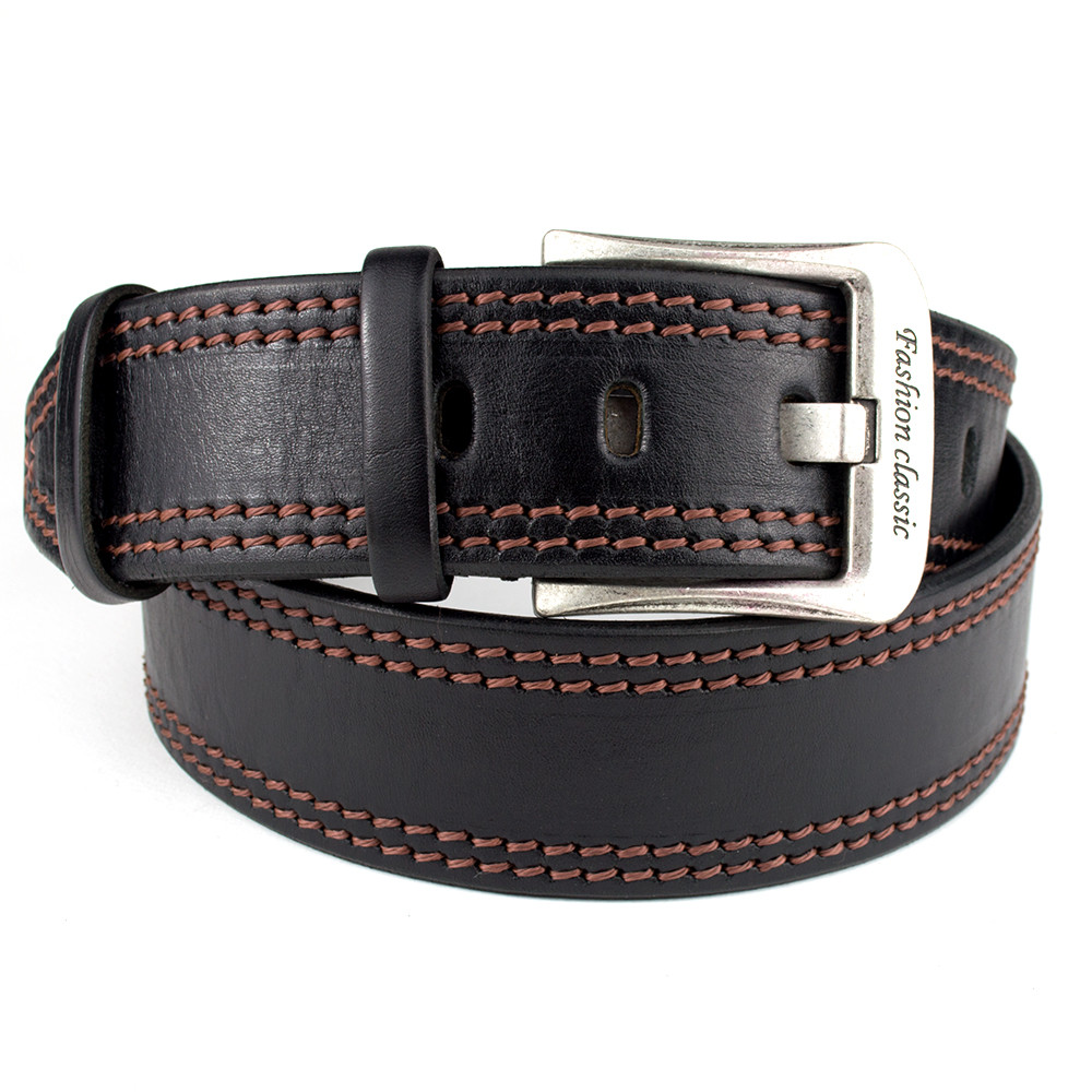 Ремень мужской кожаный KB-50-01 black (5 см)
