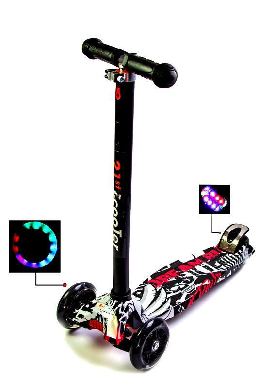 Детский самокат MAXI Street Чёрные светящиеся колёса Гарантия качества Быстрая доставка